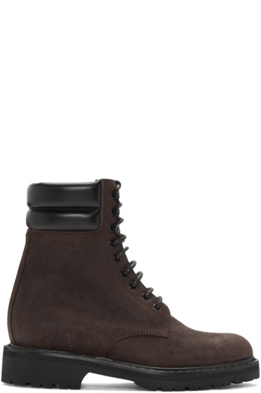 Saint Laurent - Brown Suede High Army Boots