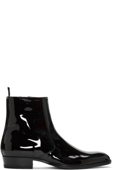 Saint Laurent - Black Patent Leather Hedi Boots