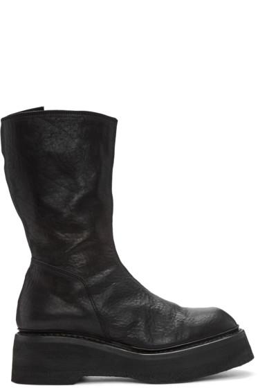 Julius - Black Leather Platform Boots