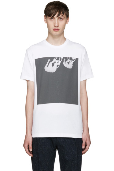 PS by Paul Smith - White Upside Down Cyclist T-Shirt