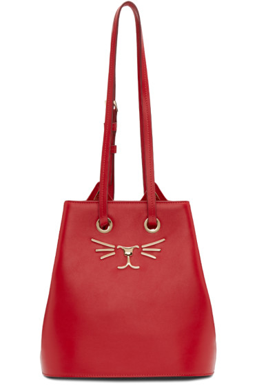 Charlotte Olympia - Red Feline Bucket Back