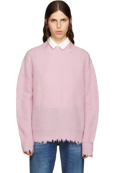 MSGM - Pink Wool Fringed Sweater