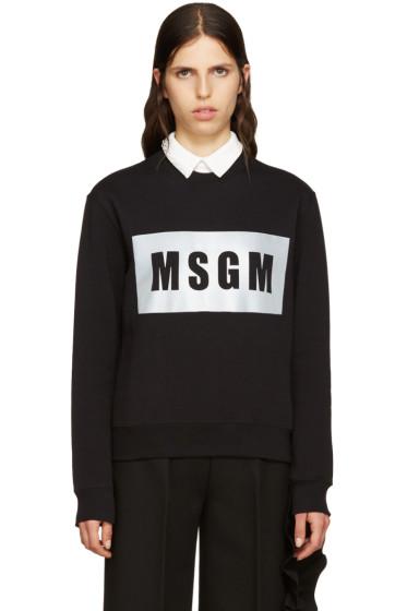 MSGM - Black Reflector Logo Sweatshirt