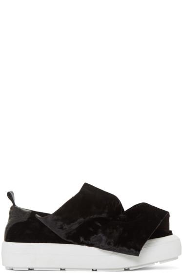 MSGM - Black Velvet Ruched Slip-On Sneakers