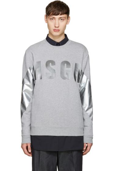 MSGM - Grey Metallic Logo Sweatshirt