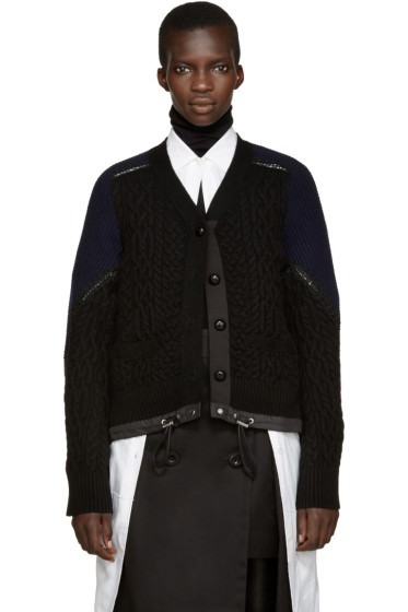 Sacai - Black Cable Knit Cardigan
