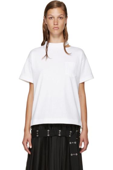 Sacai - White Belted Collar T-Shirt