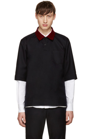 Sacai - Navy Velvet Collar Shirt