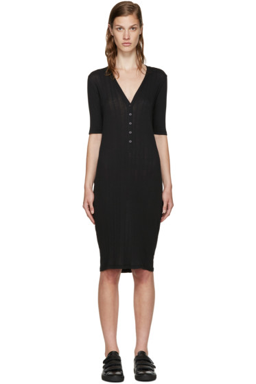 6397 - Black Ribbed Jersey Dress