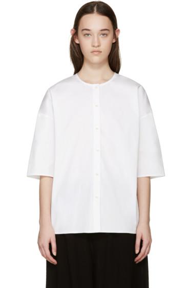 6397 - White Poplin Collarless Shirt