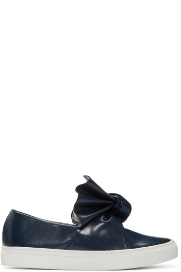 Cédric Charlier - Navy Bow Slip-On Sneakers