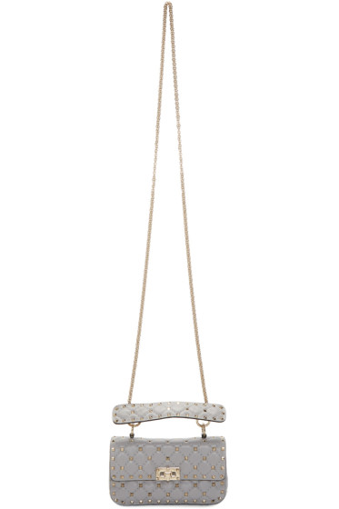 Valentino - Grey Small Rockstud Matelasse Bag
