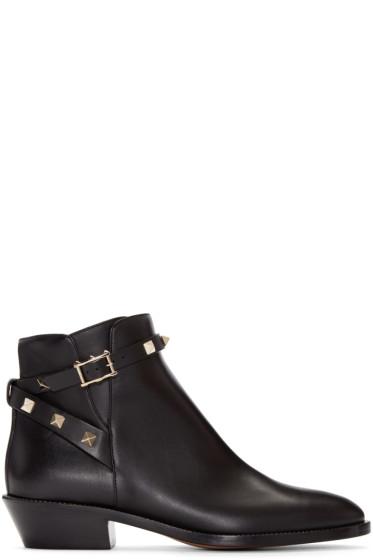 Valentino - Black Rockstud Ankle Boots