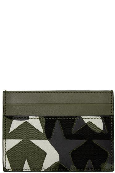 Valentino - Green Camouflage Stars Card Holder