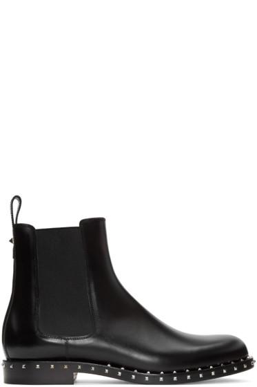 Valentino - Black Rockstud Chelsea Boots
