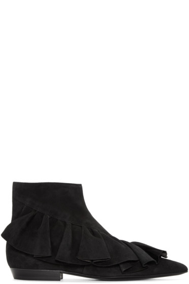 J.W.Anderson - Black Suede Ruffled Ankle Boots