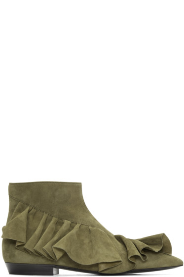 J.W.Anderson - Green Suede Ruffle Boots