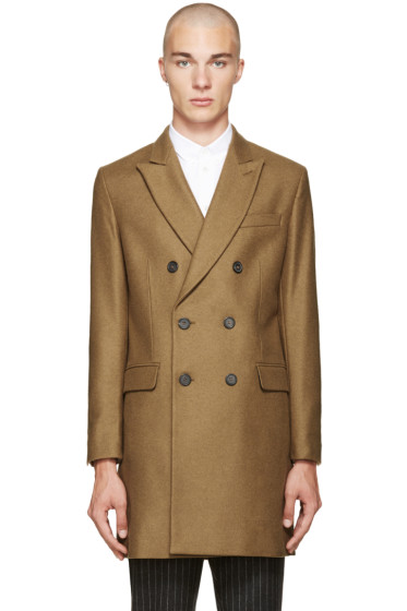 AMI Alexandre Mattiussi - Tan Wool Double-Breasted Coat