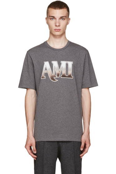 AMI Alexandre Mattiussi - Grey Logo T-Shirt