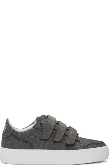 AMI Alexandre Mattiussi - Grey Felted Velcro Sneakers