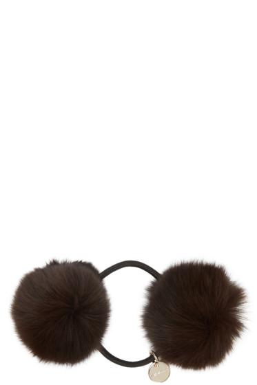 Yves Salomon - Brown Fur Pom Pom Hair Tie