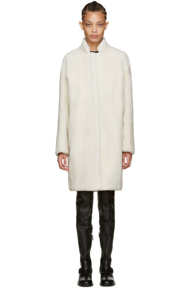 Meteo by Yves Salomon - Off-White Shearling Coat