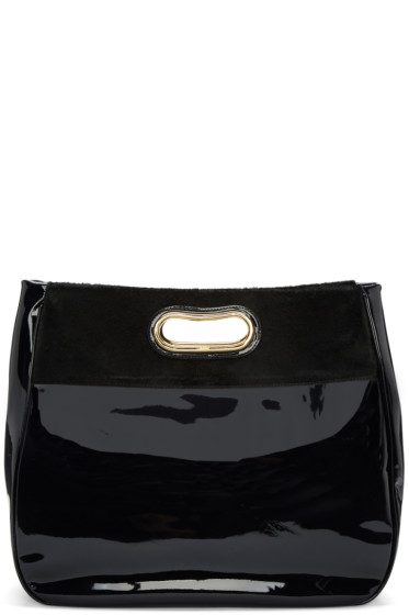 Kolor - Navy Patent Leather & Calf-Hair Tote
