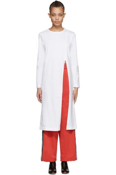 Facetasm - White Long Slit T-Shirt