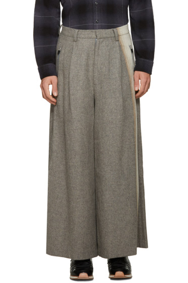 Facetasm - Grey Wool Wide-Leg Trousers
