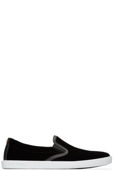 Jimmy Choo - Black Velvet Demi Slip-On Sneakers
