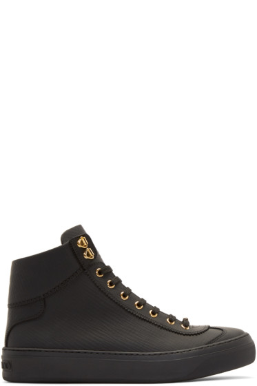 Jimmy Choo - Black Matte Argyle High-Top Sneakers