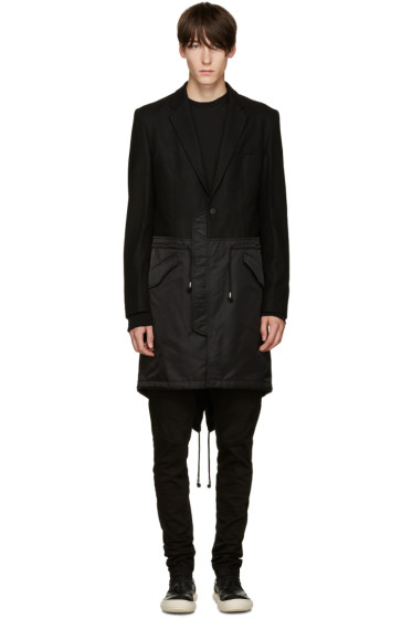 D.Gnak by Kang.D - Black Mixed Fishtail Coat