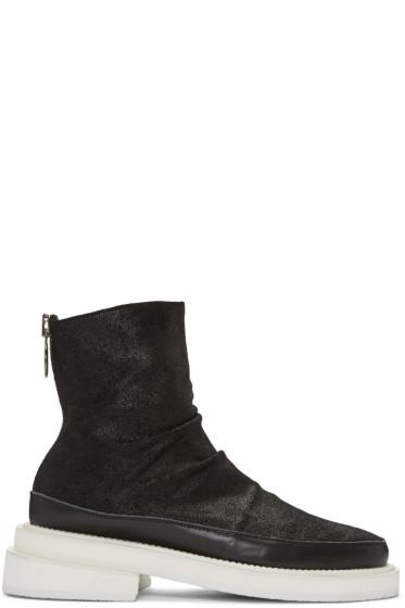 D.Gnak by Kang.D - Black Nubuck Zip Boots