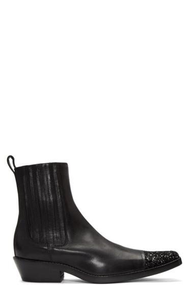 Haider Ackermann - Black Glitter Cap Toe Boots