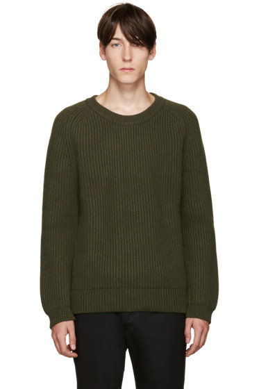 Haider Ackermann - Green Ribbed Crewneck