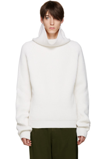 Haider Ackermann - Off-White Ribbed Turtleneck
