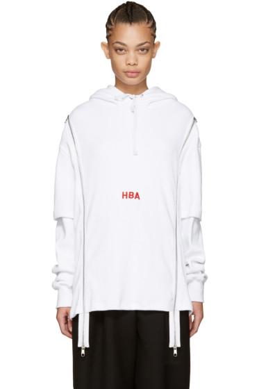 Hood by Air - White Thermal Double-Zip Hoodie