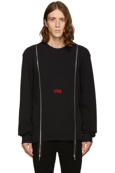 Hood by Air - Black Thermal Double-Zip Pullover