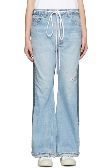 001 Levi's Made & Crafted c/o Off-White - SSENSE Exclusive Indigo Arrow Straight Join Jeans
