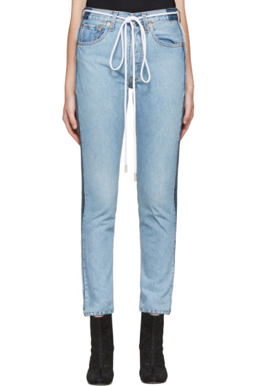001 Levi's Made & Crafted c/o Off-White - SSENSE Exclusive Indigo Twig High Slim Join Jeans