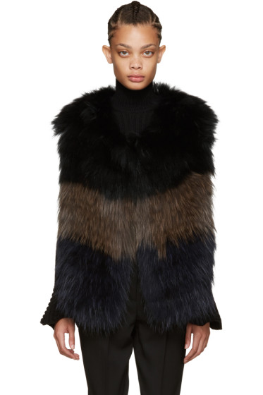 Yves Salomon - Navy & Brown Knit Fur Vest