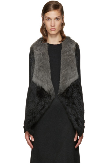 Yves Salomon - Black & Grey Knit Fur Vest
