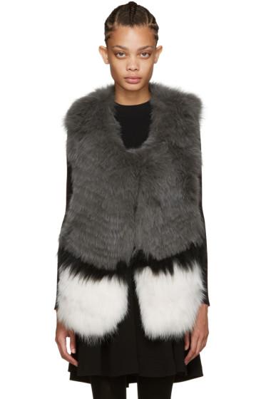 Yves Salomon - Grey Knit Fur Vest
