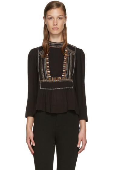 Isabel Marant Etoile - Black Embroidered Cerza Blouse