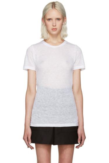Isabel Marant - White Madras Linen T-Shirt