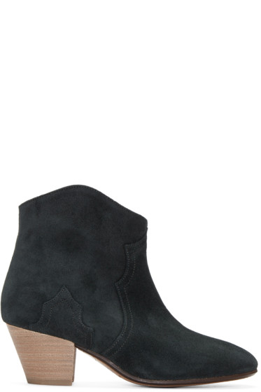 Isabel Marant - Black Suede Dicker Ankle Boots