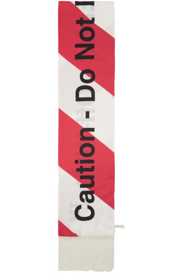 Off-White - Red & White Silk 'Caution' Scarf