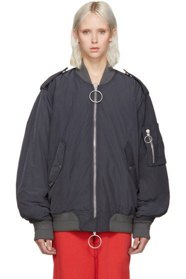 Off-White - Grey Nylon Bomber Jacket