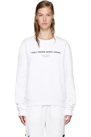 Off-White - White 'I Only Smoke When I Drink' Pullover