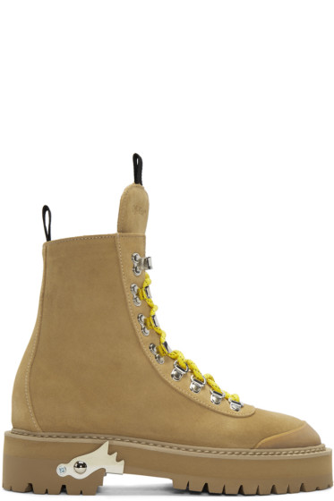 Off-White - Brown Suede Hiking Boots